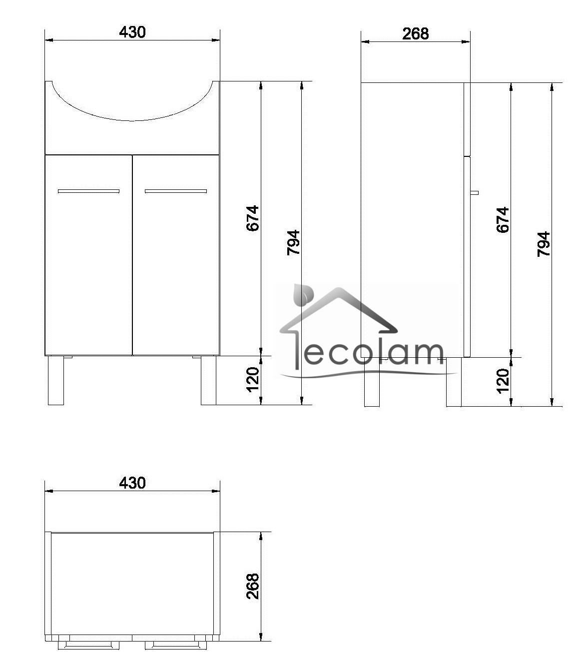 badm bel waschbecken 50 cm waschtisch waschbeckenunterschrank wei cersanit l ebay. Black Bedroom Furniture Sets. Home Design Ideas