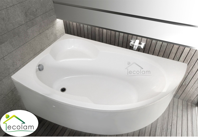badewanne wanne eckbadewanne 170 x 100 cm ohne mit sch rze ablauf ecolam links ebay. Black Bedroom Furniture Sets. Home Design Ideas
