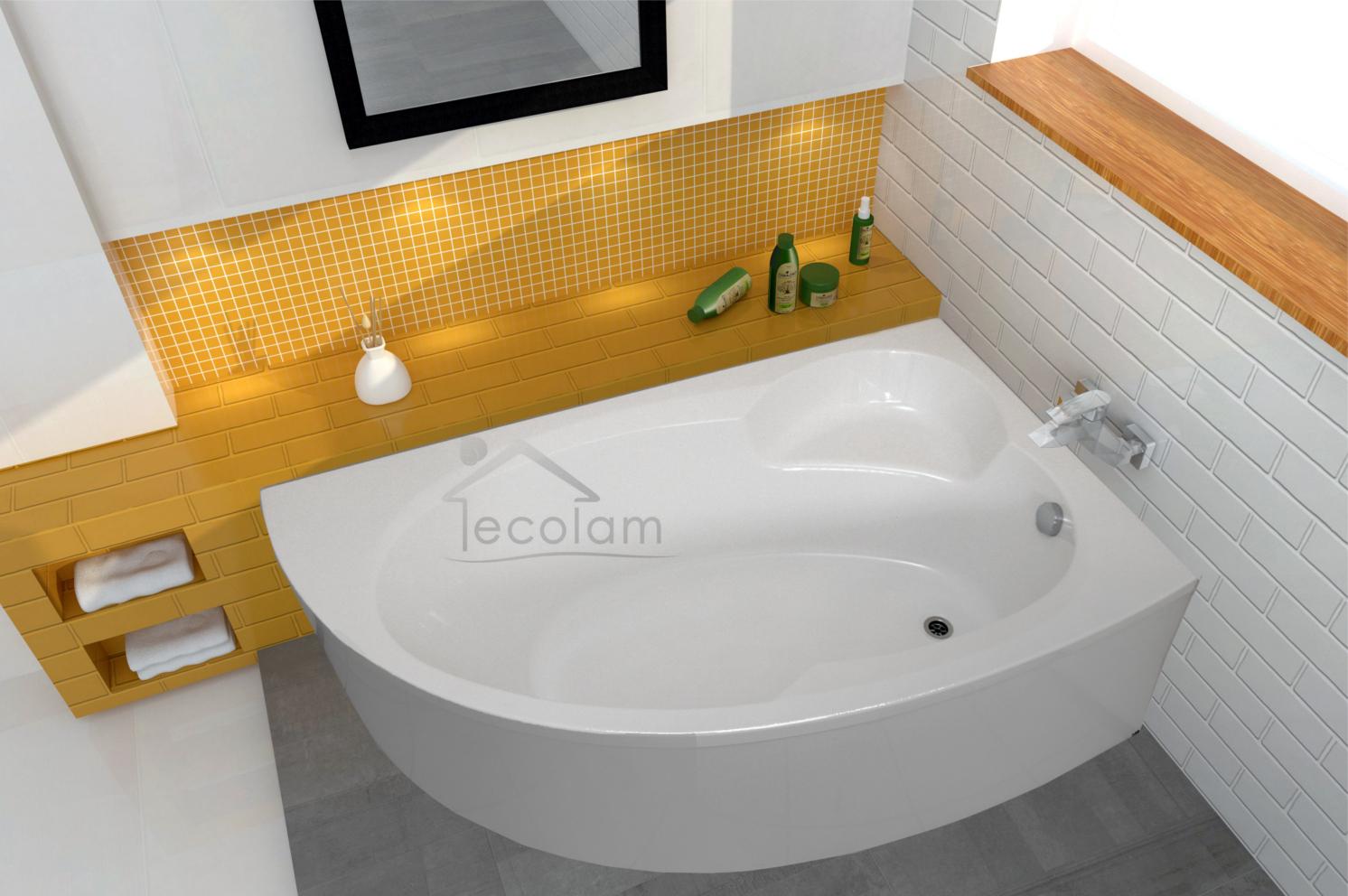 badewanne wanne eck eckbadewanne 170 x 100 ohne mit sch rze ablauf ecolam rechts ebay. Black Bedroom Furniture Sets. Home Design Ideas