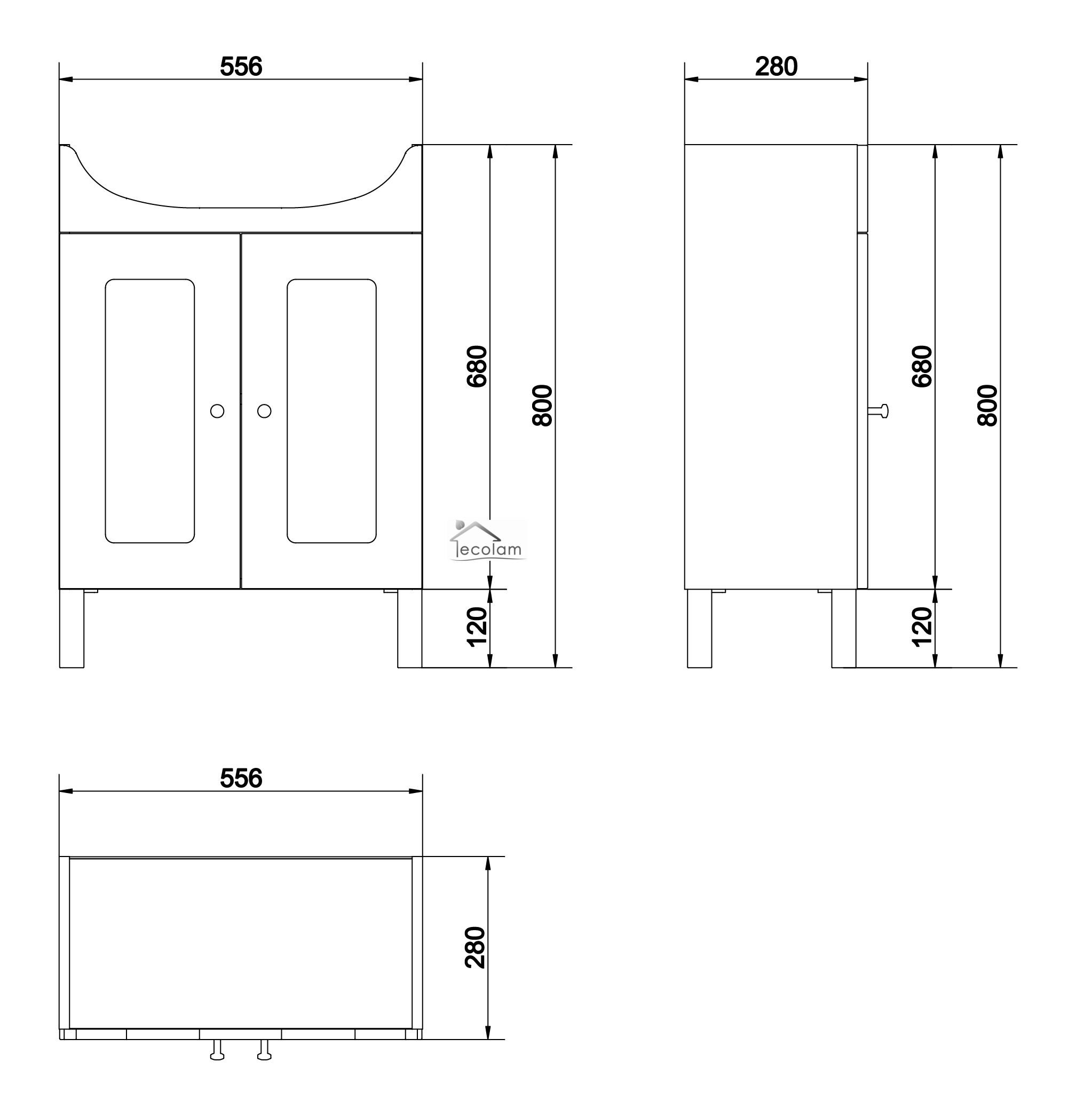 Badmöbel Waschbecken 55  60 cm Waschbeckenunterschrank  ~ Waschbecken Höhe