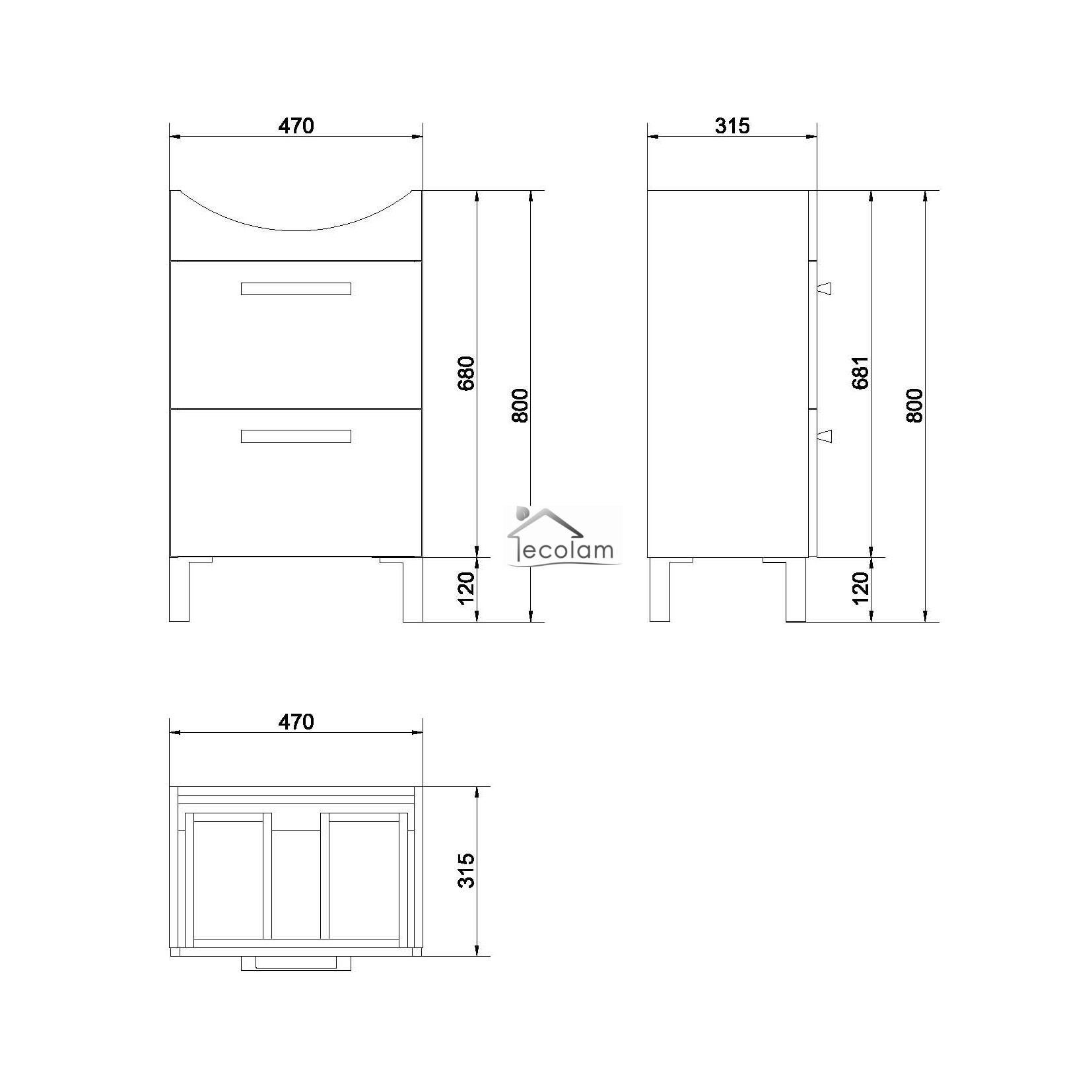 Badmöbel Waschbecken 50 / 55 / 60 cm Waschbeckenunterschrank Füße ... | {Waschbeckenunterschrank stehend mit schubladen 49}