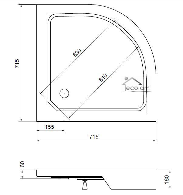 Kücheneckschrank 80x80  Duschwanne Duschtasse Viertelkreis 70x70 / 80x80 / 90x90x4x16 cm ...