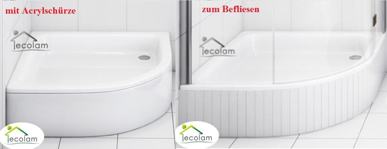 duschwanne duschtasse viertelkreis 90x90x26 cm mit ohne sch rze r 55 befliesbar ebay. Black Bedroom Furniture Sets. Home Design Ideas