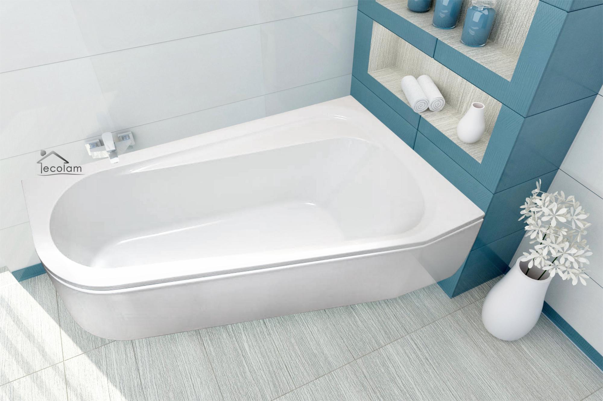 badewanne wanne eckbadewanne 150 x 85 cm f e ab berlauf sch rze acryl rechts ebay. Black Bedroom Furniture Sets. Home Design Ideas