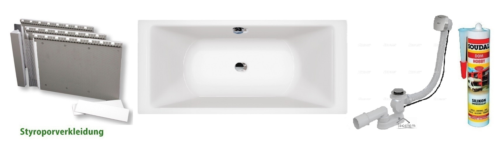 badewanne wanne rechteck 200 x 90 cm f e ablauf silikon. Black Bedroom Furniture Sets. Home Design Ideas