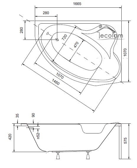 badewanne 166 x 107 cm rechts d 166 optional sch rze aus acryl oder. Black Bedroom Furniture Sets. Home Design Ideas