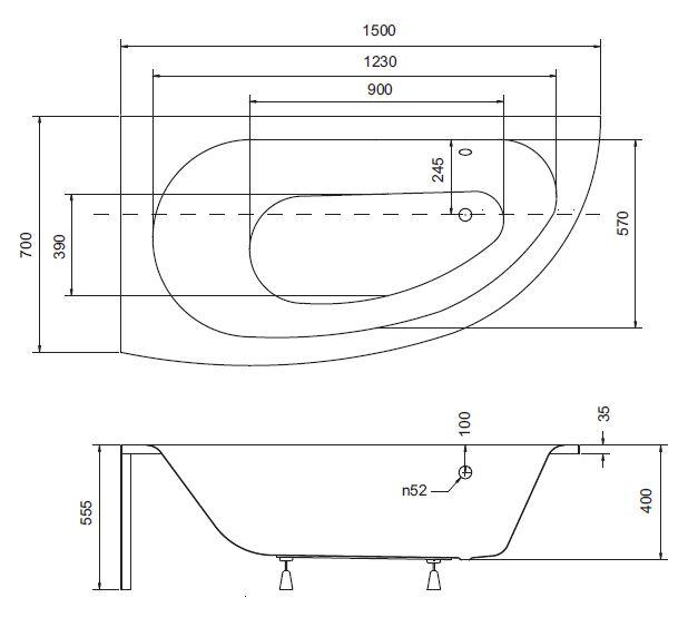 badewanne eckbadewanne 150 x 70 cm sch rze handgriffe nackenkissen milena links ebay. Black Bedroom Furniture Sets. Home Design Ideas