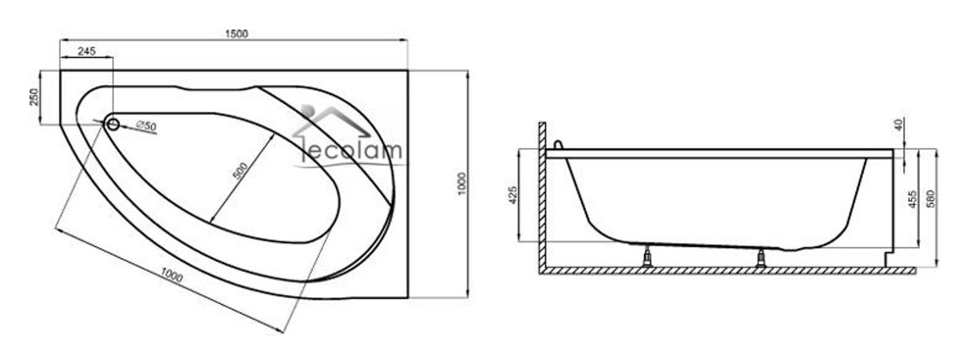 badewanne wanne eckwanne 150 x 100 cm mit ohne armatur wannenrand sch rze rechts. Black Bedroom Furniture Sets. Home Design Ideas