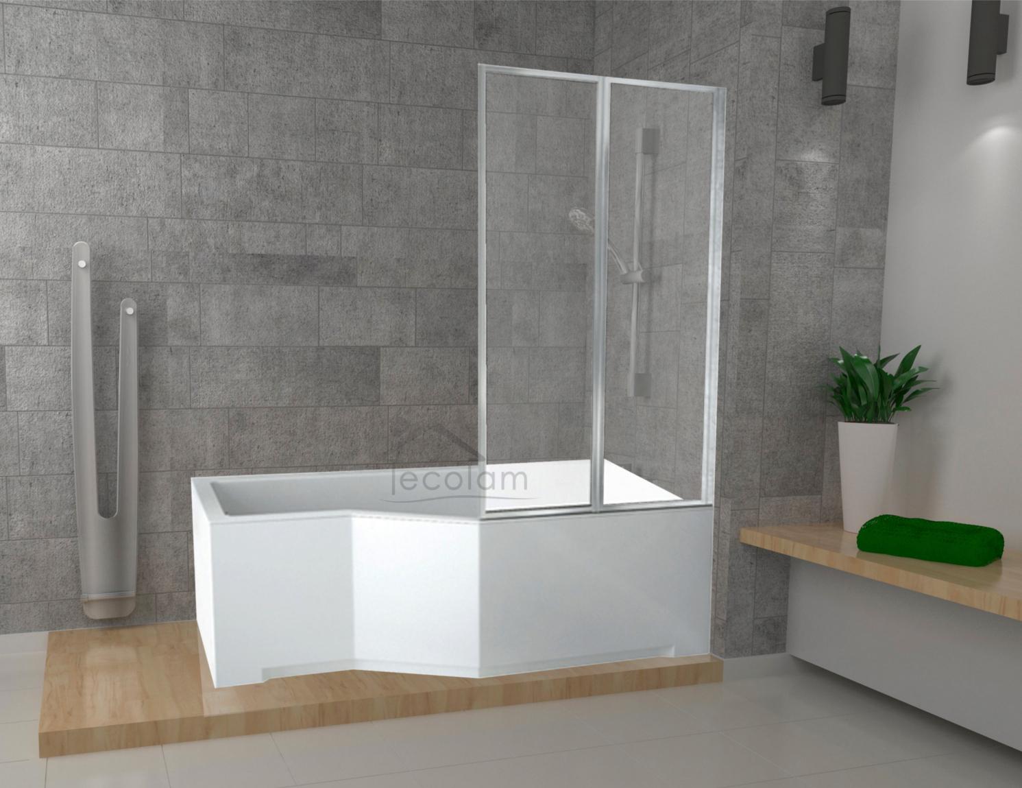 badewanne badewannenabtrennung 2 duschwand eckwanne rechteck 150 x 75 cm rechts ebay. Black Bedroom Furniture Sets. Home Design Ideas