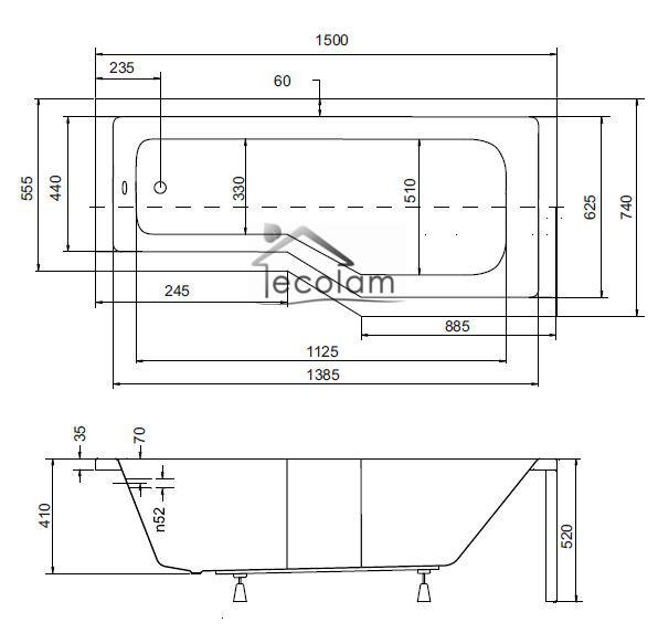 badewanne wanne eckwanne eckig rechteck acryl 150 x 75 cm. Black Bedroom Furniture Sets. Home Design Ideas