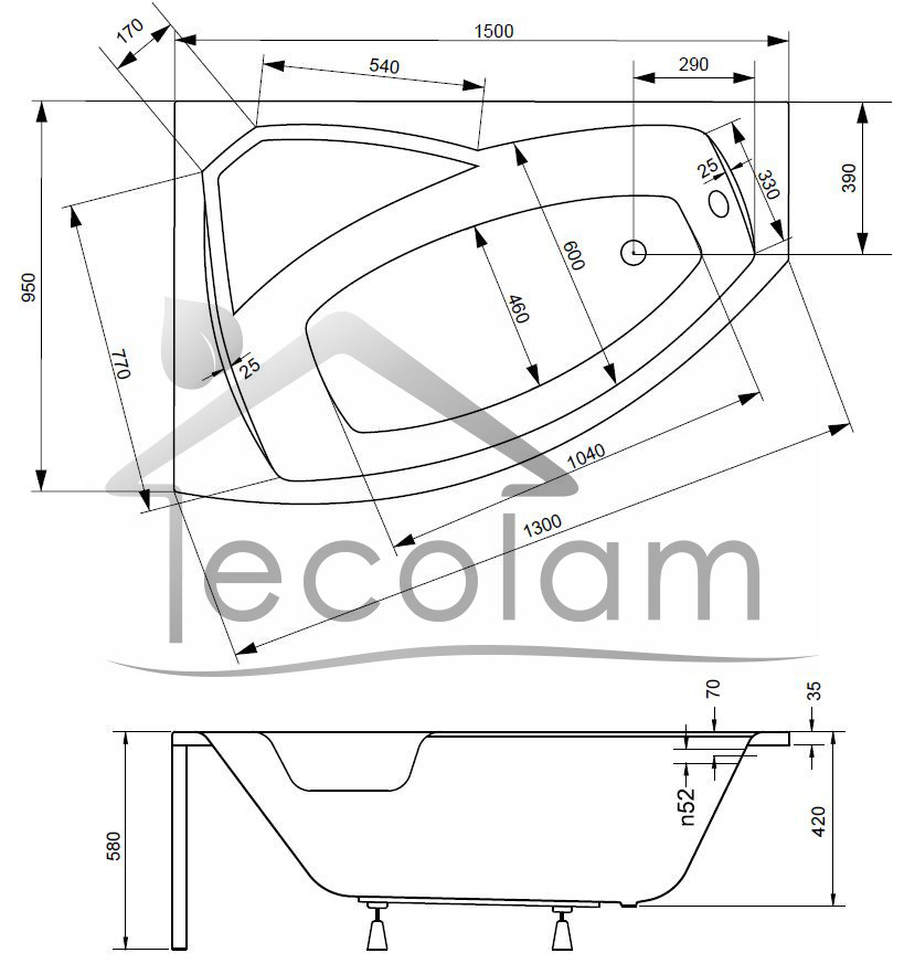 badewanne eckwanne wanne eckig 130x85 140x90 150x95. Black Bedroom Furniture Sets. Home Design Ideas