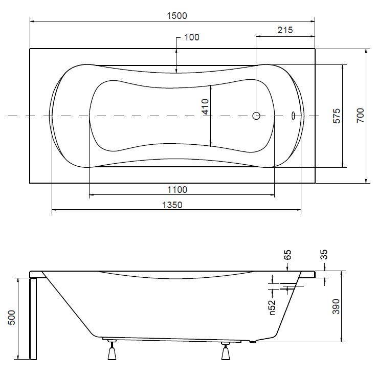 badewanne wanne rechteck 150 x 70 cm f e ablaufgarnitur silikon acryl a pmd ebay. Black Bedroom Furniture Sets. Home Design Ideas