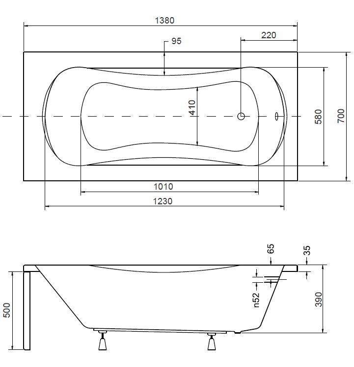 badewanne wanne rechteck 140 x 70 cm styroporsch rze handgriffe ablauf acryl a. Black Bedroom Furniture Sets. Home Design Ideas