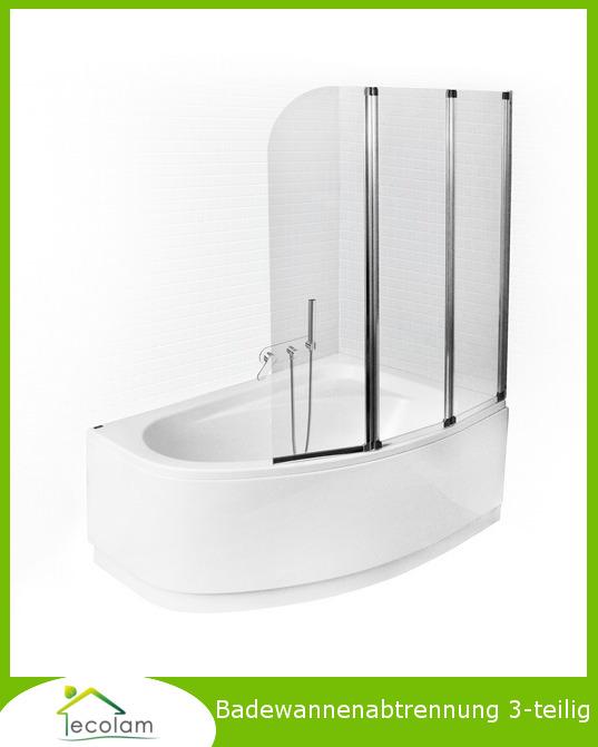 badewanne badewannenabtrennung duschabtrennung 3 teilig h 139 cm klarglas chrom ebay. Black Bedroom Furniture Sets. Home Design Ideas
