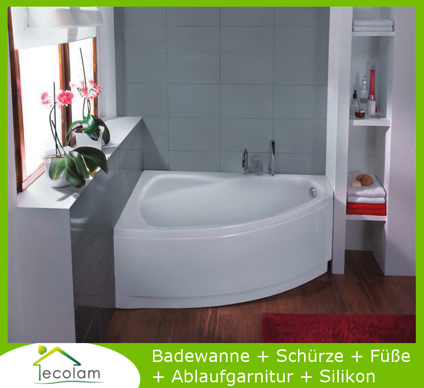 badewanne wanne eckwanne acryl 150 x 100 cm sch rze ablauf silikon acryl links ebay. Black Bedroom Furniture Sets. Home Design Ideas