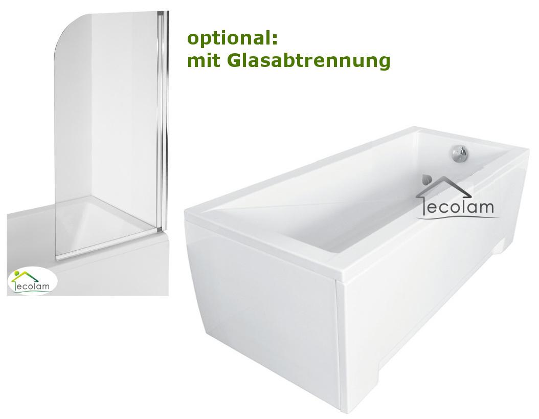 badewanne rechteck 170 x 70 cm badewannenabtrennung glas abtrennung sch rze ebay. Black Bedroom Furniture Sets. Home Design Ideas