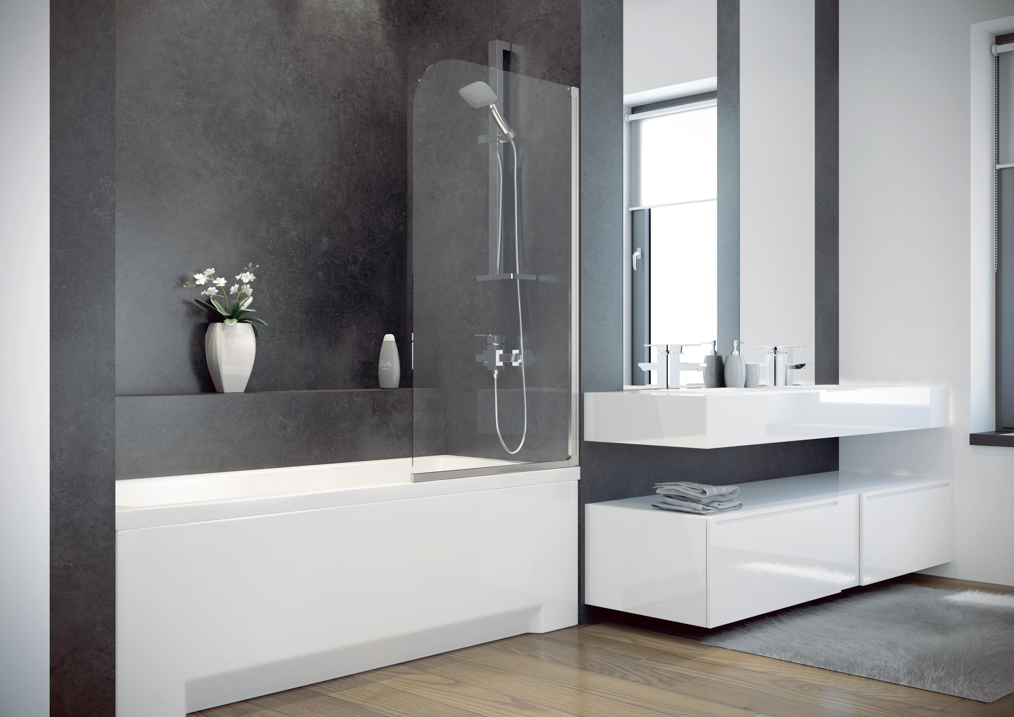 badewanne wanne rechteck 130 x 70 cm sch rze glas abtrennung duschabtrennung ebay. Black Bedroom Furniture Sets. Home Design Ideas