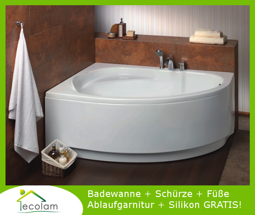 badewanne wanne eckwanne acryl 150 x 100 cm sch rze ablauf silikon marea links ebay. Black Bedroom Furniture Sets. Home Design Ideas