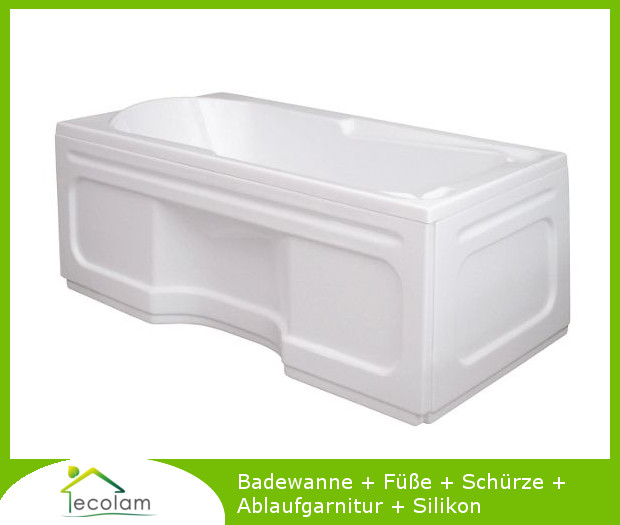 badewanne wanne rechteck eckwanne 120 x 70 cm sch rze ablauf silikon ebay. Black Bedroom Furniture Sets. Home Design Ideas