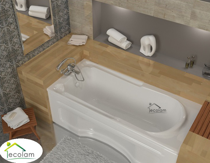 badewanne wanne rechteck eckwanne 120 x 70 cm ohne mit sch rze ablauf silikon ebay. Black Bedroom Furniture Sets. Home Design Ideas