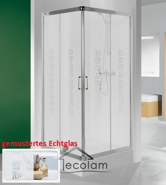 duschkabine dusche viereck schiebet r glas milchglas 80 x 80 190 cm gemustert. Black Bedroom Furniture Sets. Home Design Ideas