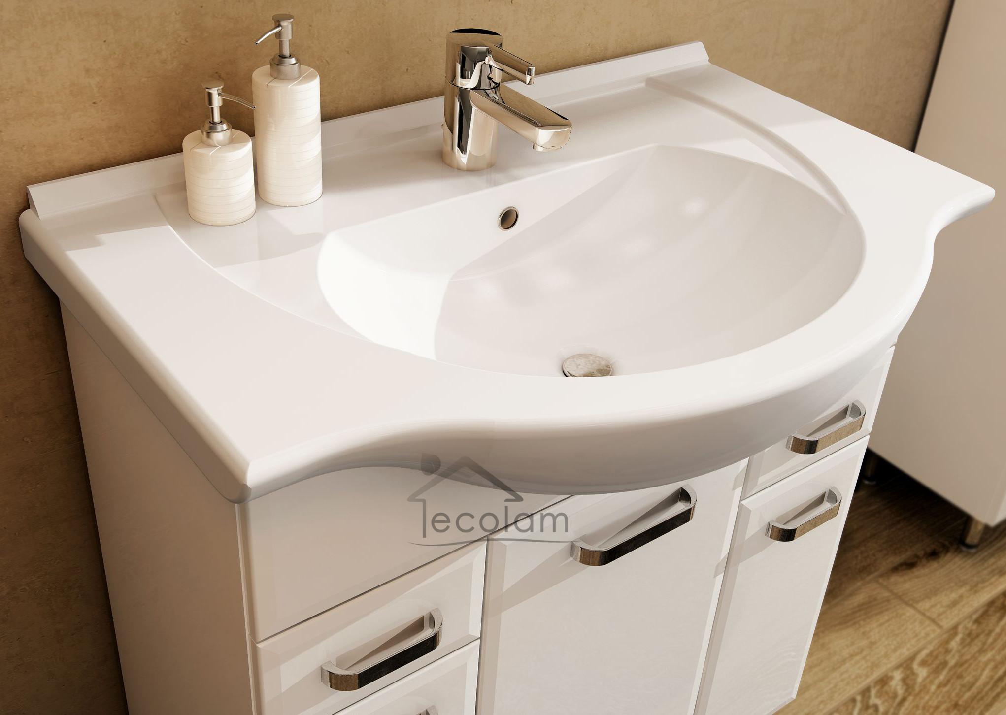 badm bel waschbecken 85 cm waschtisch waschbeckenunterschrank schublade wei ae ebay. Black Bedroom Furniture Sets. Home Design Ideas