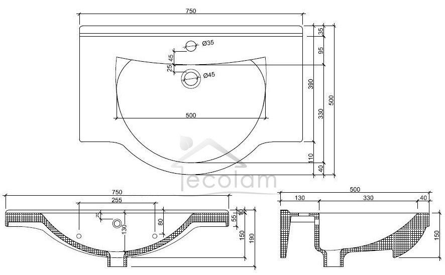 badm bel waschbecken set 75 cm waschtisch unterschrank t ren siphon click clack ebay. Black Bedroom Furniture Sets. Home Design Ideas