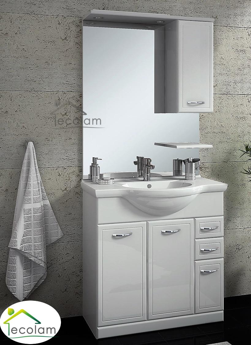 Waschtisch mit unterschrank stehend mit spiegel  Badmöbel Waschbecken 75 cm Waschtisch Waschbeckenunterschrank ...