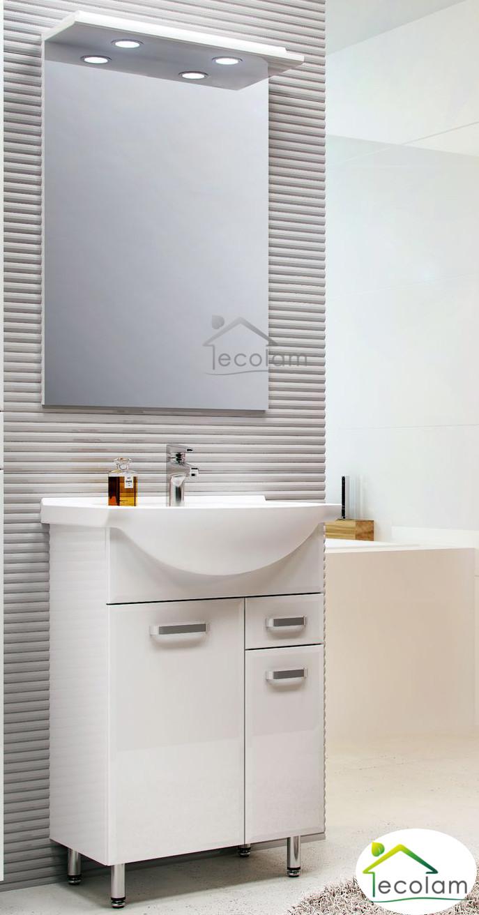 badm bel waschbecken 55 waschtisch waschbeckenunterschrank schublade spiegel ebay. Black Bedroom Furniture Sets. Home Design Ideas
