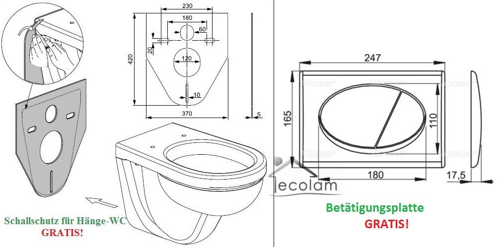 wc vorwandelement 100 cm toilette wandh ngend sp lrandlos clean on soft close ebay. Black Bedroom Furniture Sets. Home Design Ideas