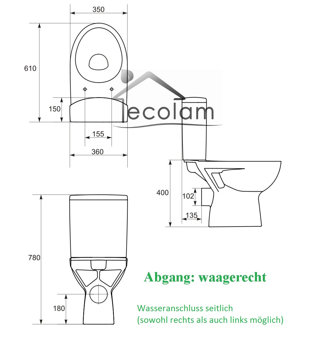 wc toilette stand tiefsp ler bodenstehend sp lkasten sitz soft close cersanit ebay. Black Bedroom Furniture Sets. Home Design Ideas