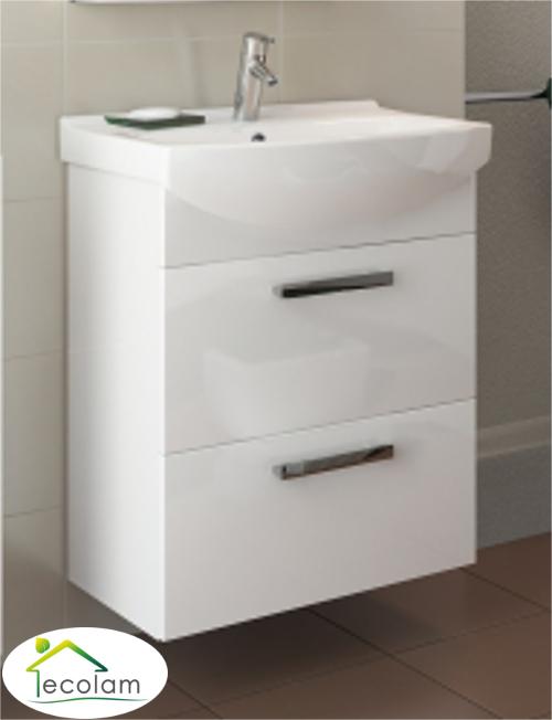 Badmöbel Set 2 Schränke Waschbecken 60 Cm Hängend Schubladen