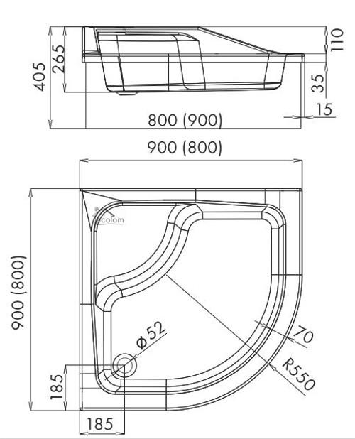 duschwanne duschtasse sitz 80x80 90 x 90 x 41 cm r55 26 cm tief viertelkreis ebay. Black Bedroom Furniture Sets. Home Design Ideas