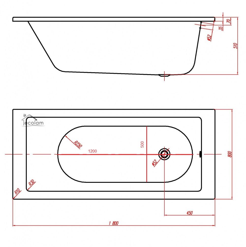 Badewanne Wanne Rechteck 180 x 80 cm Füße Ab Überlauf Acryl eckig Silikon Bor