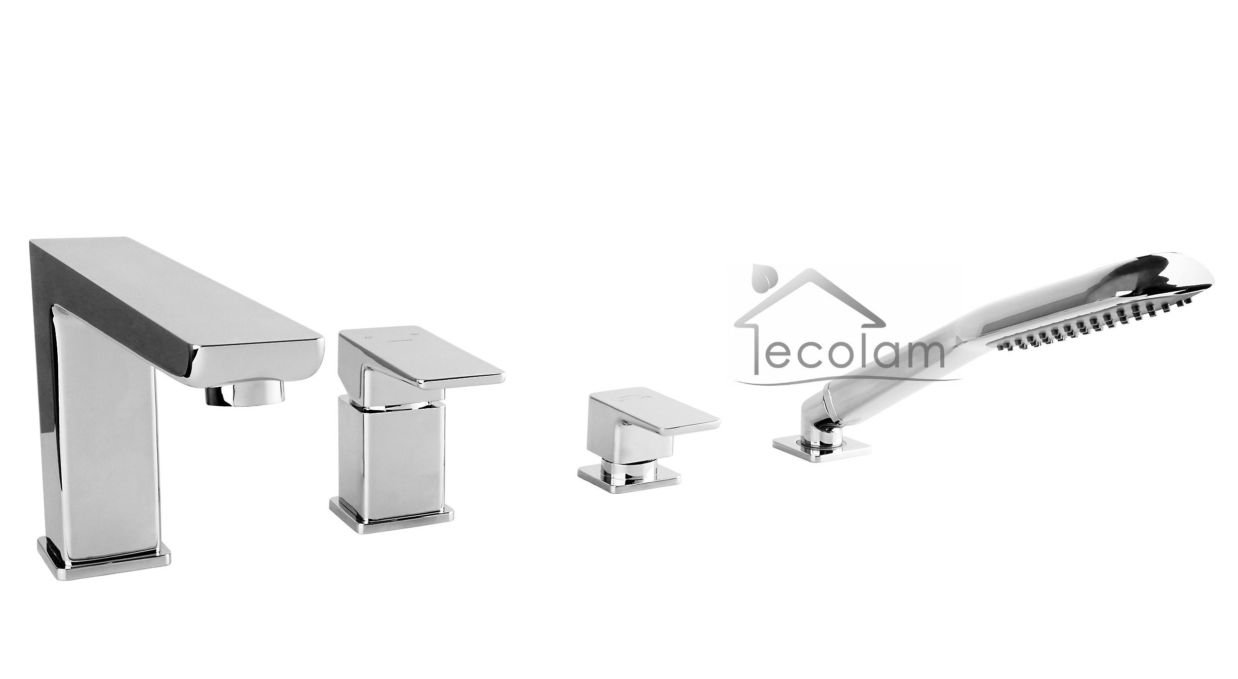 set badewannenarmatur handbrause badewanne wannenrand armatur 4 loch p ebay. Black Bedroom Furniture Sets. Home Design Ideas