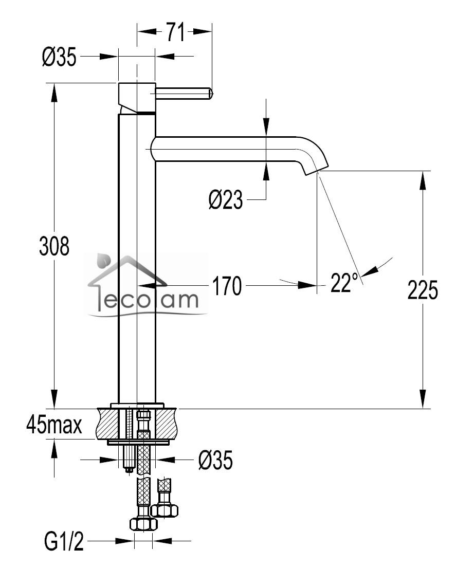 waschtischarmatur hoch f r waschschale aufsatzbecken xa17 kyushucon. Black Bedroom Furniture Sets. Home Design Ideas