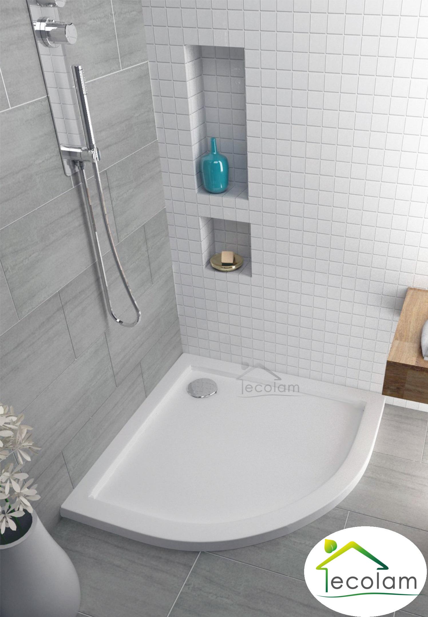duschwanne duschtasse viertelkreis flach 90 x 90 x 3 x 5 5 cm ablauf silikon a ebay. Black Bedroom Furniture Sets. Home Design Ideas