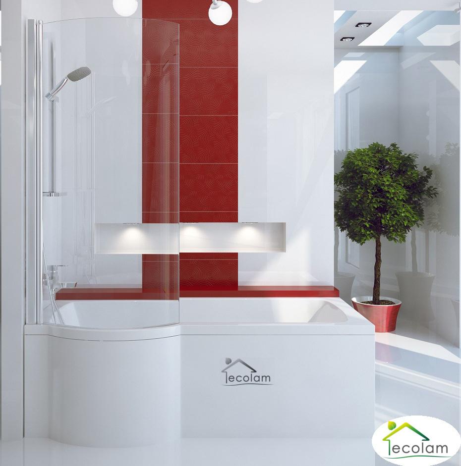 Badewanne mit duschzone eckig  Badewanne + Badewannenabtrennung Dusche eckig Rechteck 150/ 160 170 ...