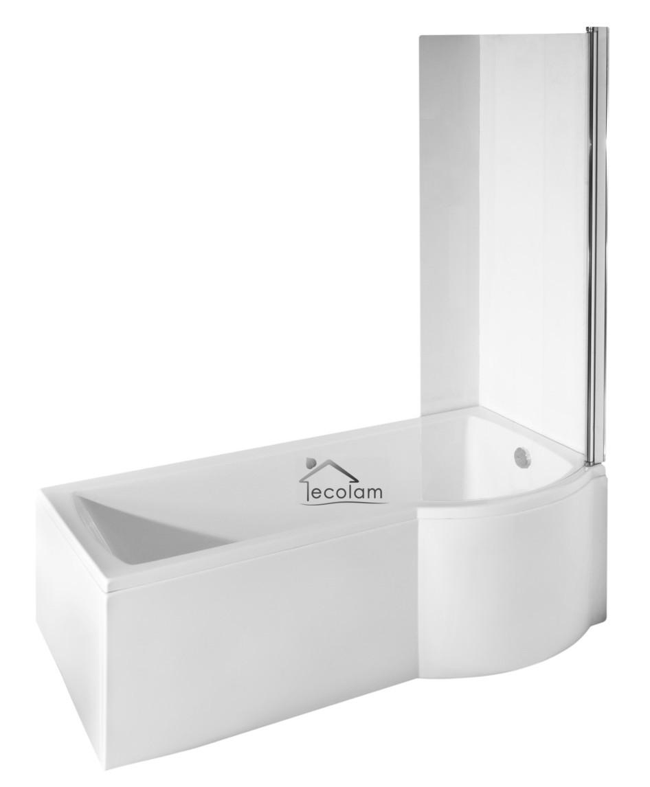 Set Badewanne Badewannenabtrennung Duschwand Glas eckig Rechteck 170x70 cm links