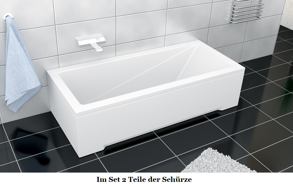 badewanne rechteck wanne 120 130 140 150 160 170 x 70 cm ohne mit sch rze ablauf ebay. Black Bedroom Furniture Sets. Home Design Ideas