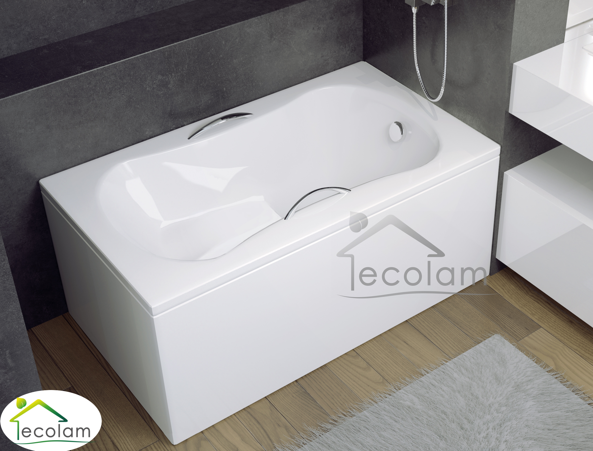 badewanne 120 x 70 cm sitzwanne rechteck sitzbadewanne mit sitz handgriffe acryl ebay. Black Bedroom Furniture Sets. Home Design Ideas