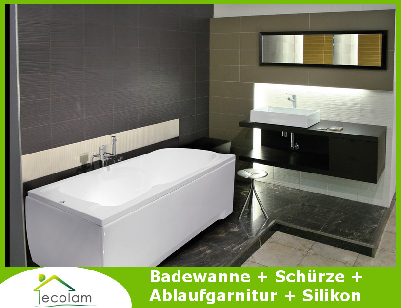 badewanne wanne rechteck eckwanne 120 140 x 70 cm sch rze ablauf silikon majka ebay. Black Bedroom Furniture Sets. Home Design Ideas