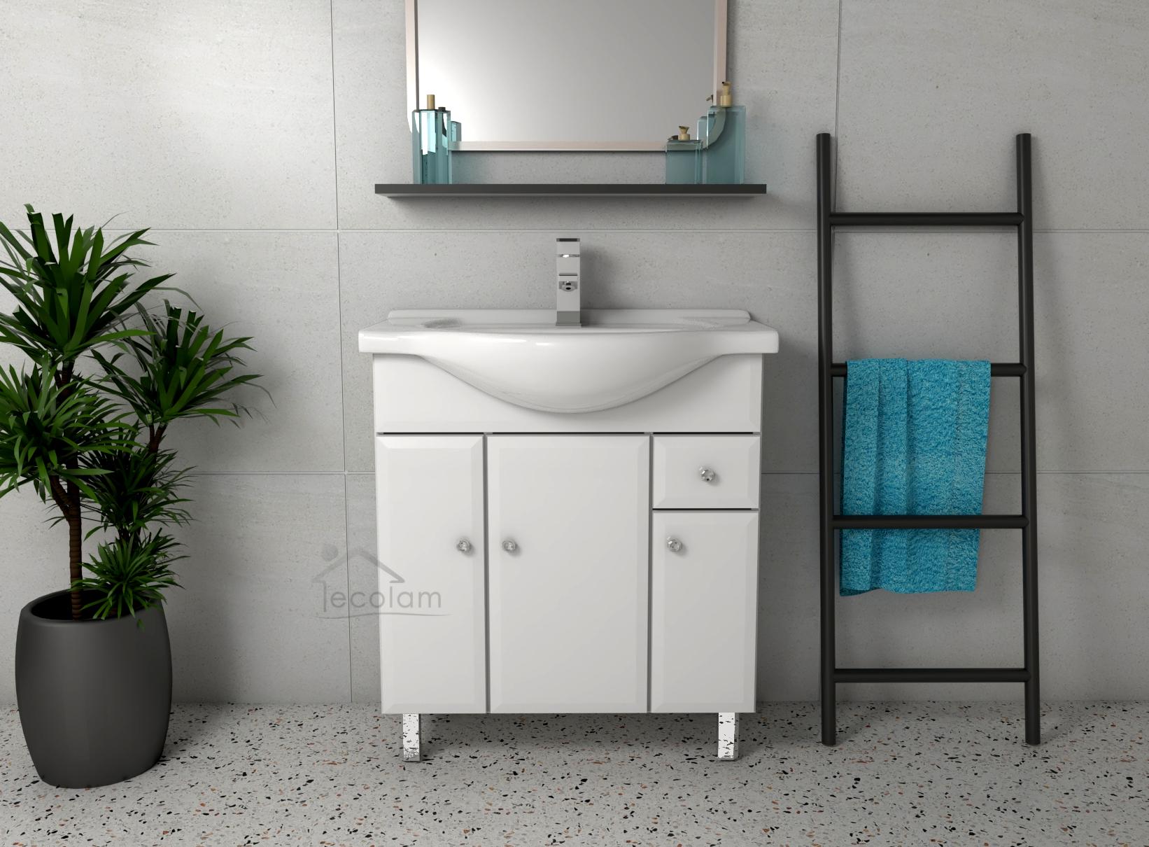 badm bel waschbecken 75 85 cm unterschrank t ren schublade soft close wei dal ebay. Black Bedroom Furniture Sets. Home Design Ideas