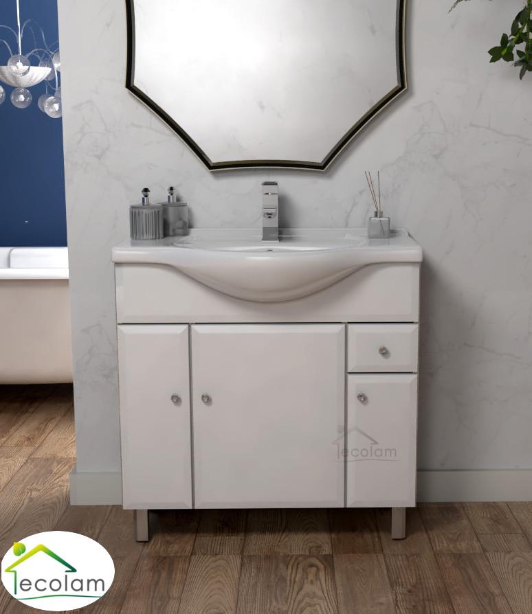 badm bel waschbecken 85 cm waschtisch unterschrank optional siphon click clack a ebay. Black Bedroom Furniture Sets. Home Design Ideas