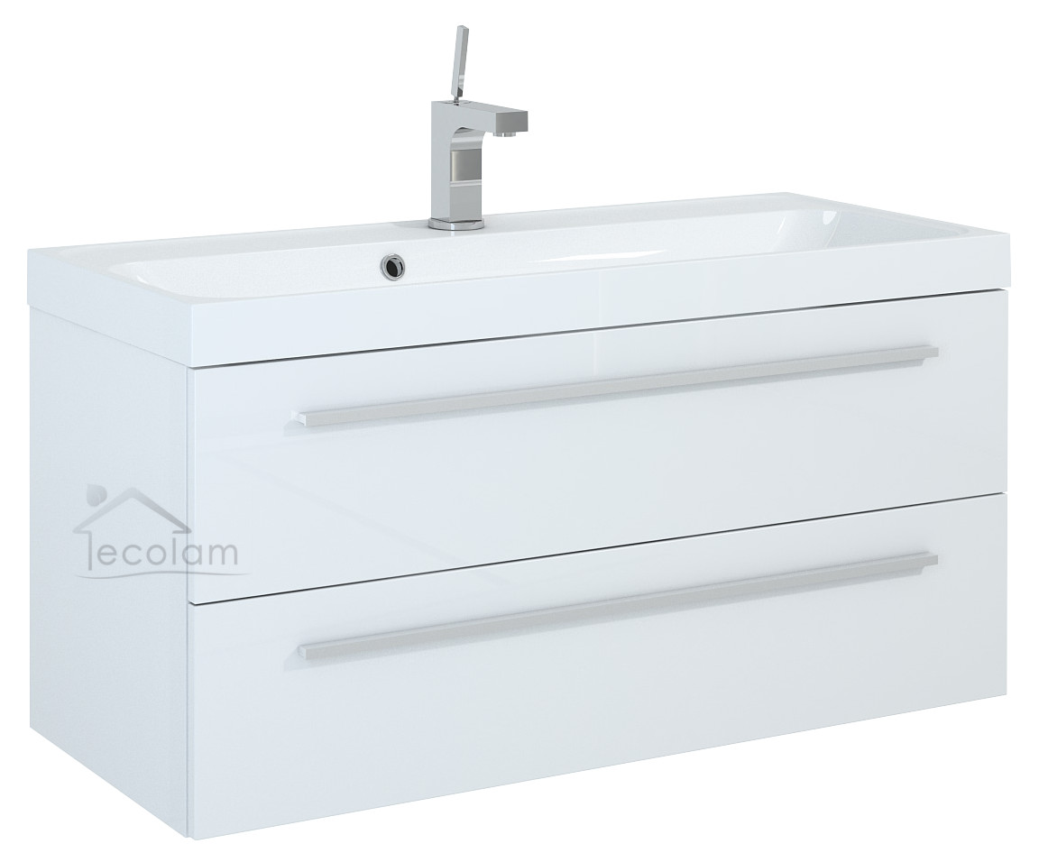 badm bel waschbecken 100 cm waschtisch unterschrank schublade schubladenteiler k ebay. Black Bedroom Furniture Sets. Home Design Ideas